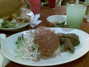 nasi kerabu with grilled beef & air durian belanda @ belanga, mid valley